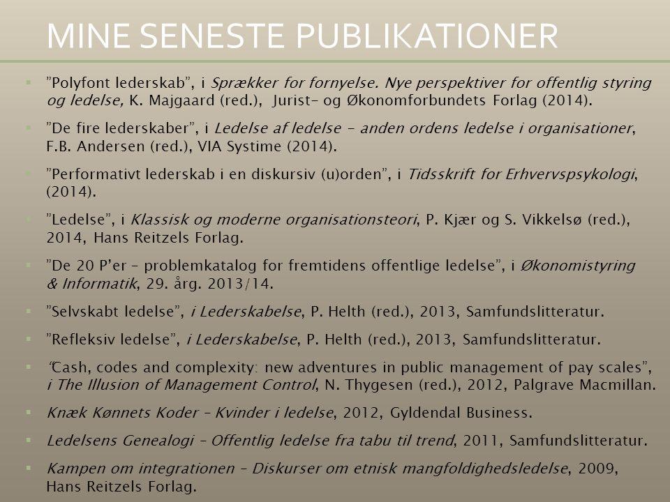 MINE SENESTE PUBLIKATIONER