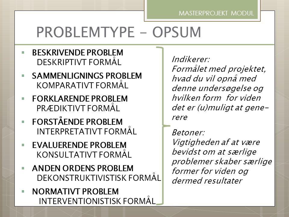 PROBLEMTYPE - OPSUM BESKRIVENDE PROBLEM DESKRIPTIVT FORMÅL Indikerer: