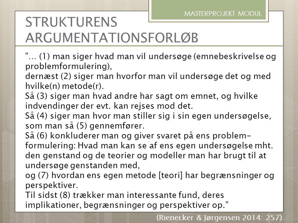 STRUKTURENS ARGUMENTATIONSFORLØB