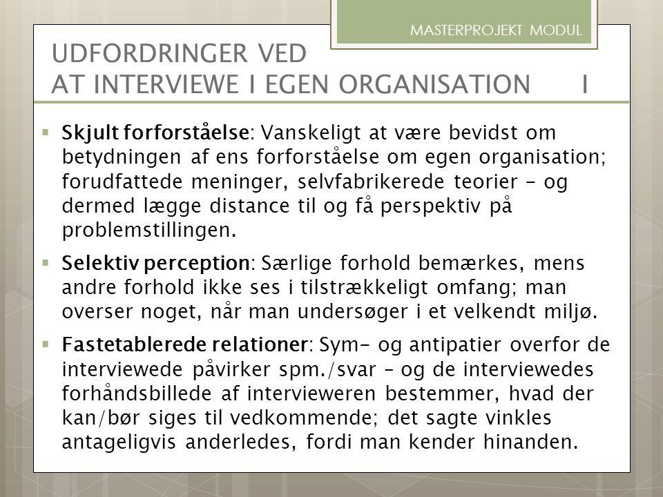 UDFORDRINGER VED AT INTERVIEWE I EGEN ORGANISATION I
