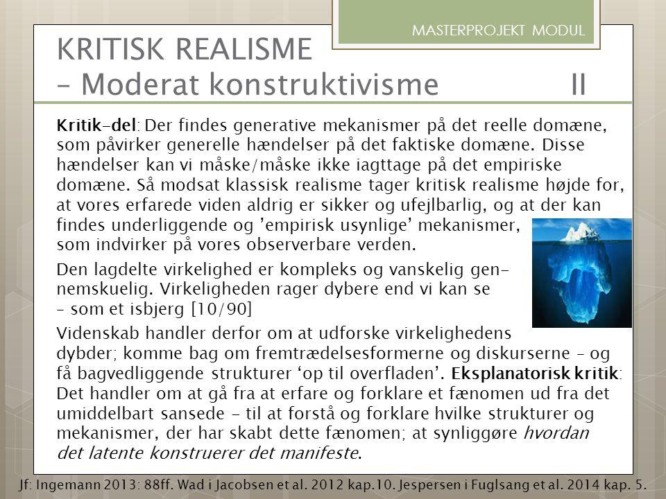 KRITISK REALISME – Moderat konstruktivisme II