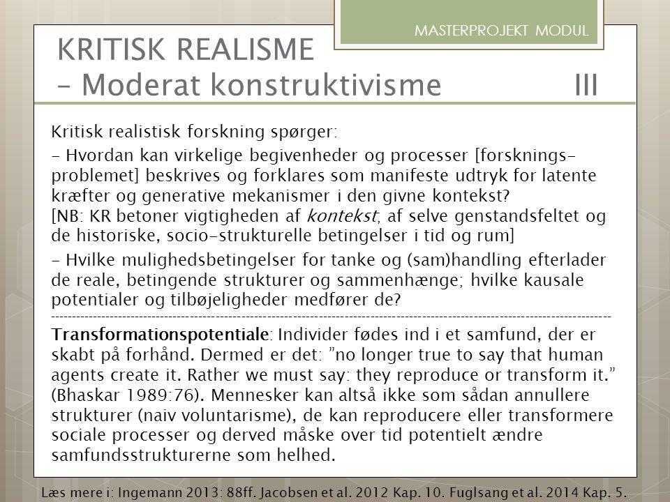 KRITISK REALISME – Moderat konstruktivisme III