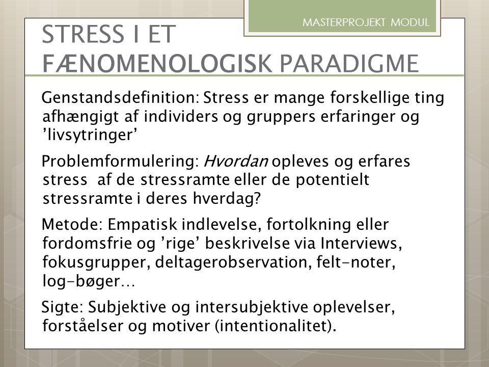 STRESS I ET FÆNOMENOLOGISK PARADIGME