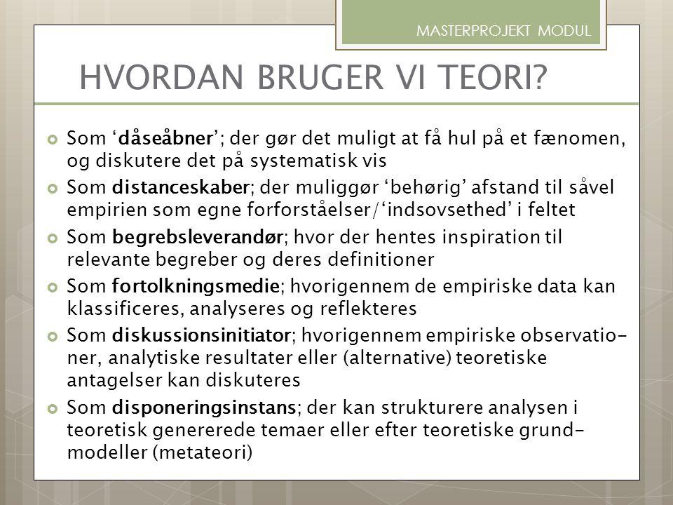 HVORDAN BRUGER VI TEORI