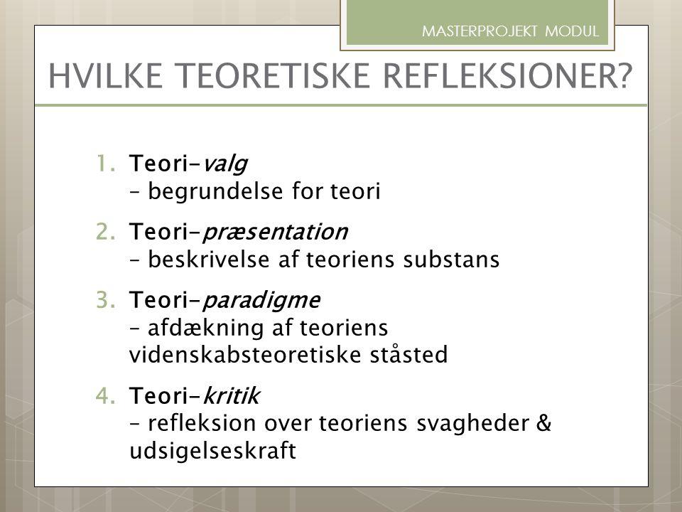HVILKE TEORETISKE REFLEKSIONER