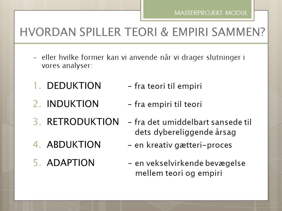 HVORDAN SPILLER TEORI & EMPIRI SAMMEN