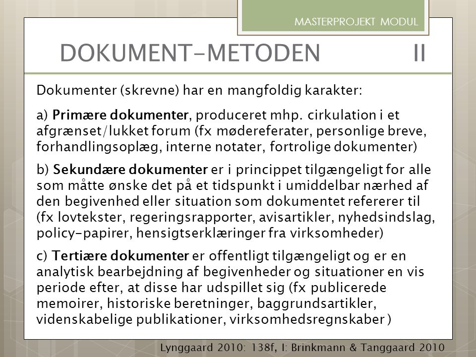 MASTERPROJEKT MODUL DOKUMENT-METODEN II.