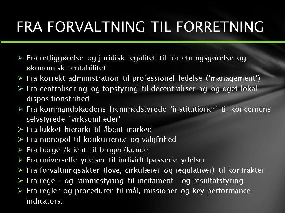 FRA FORVALTNING TIL FORRETNING
