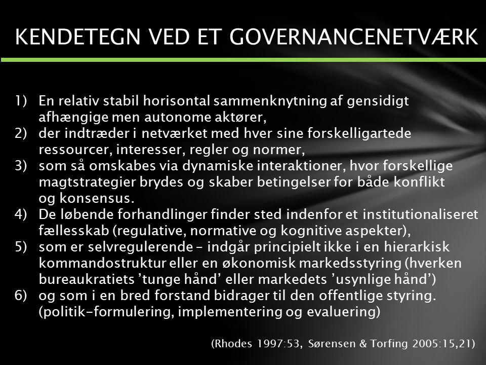 KENDETEGN VED ET GOVERNANCENETVÆRK