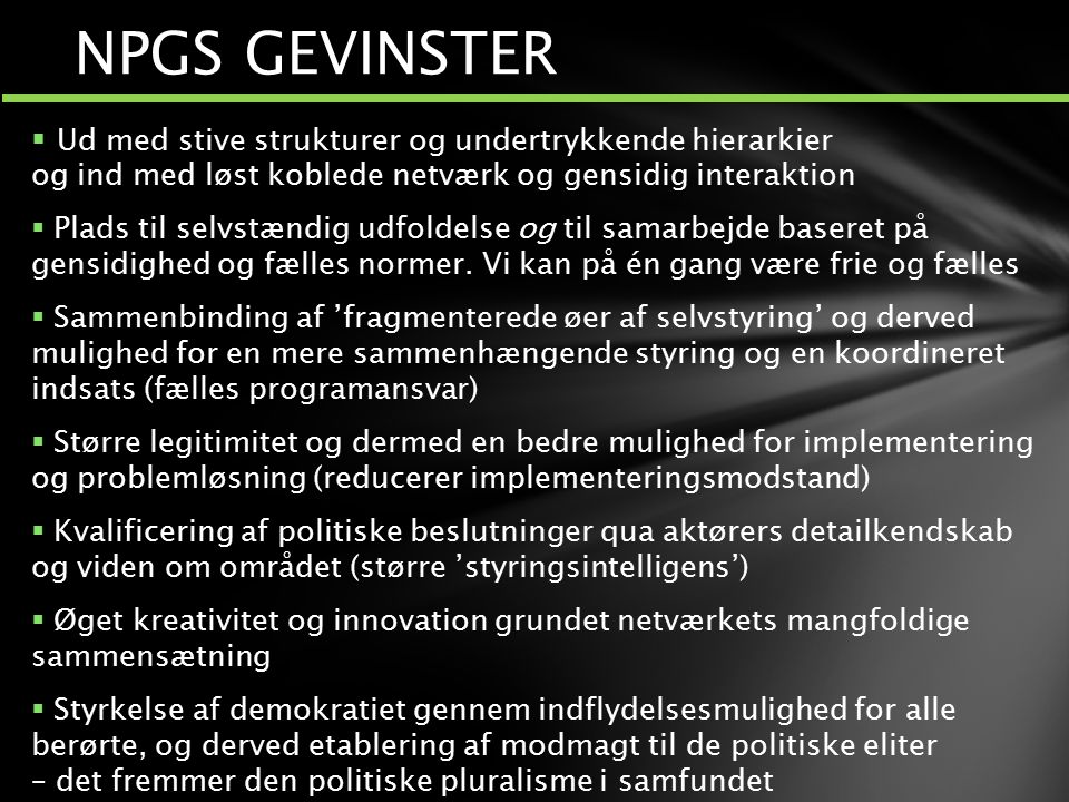 NPGS GEVINSTER Polyfon ledelse.