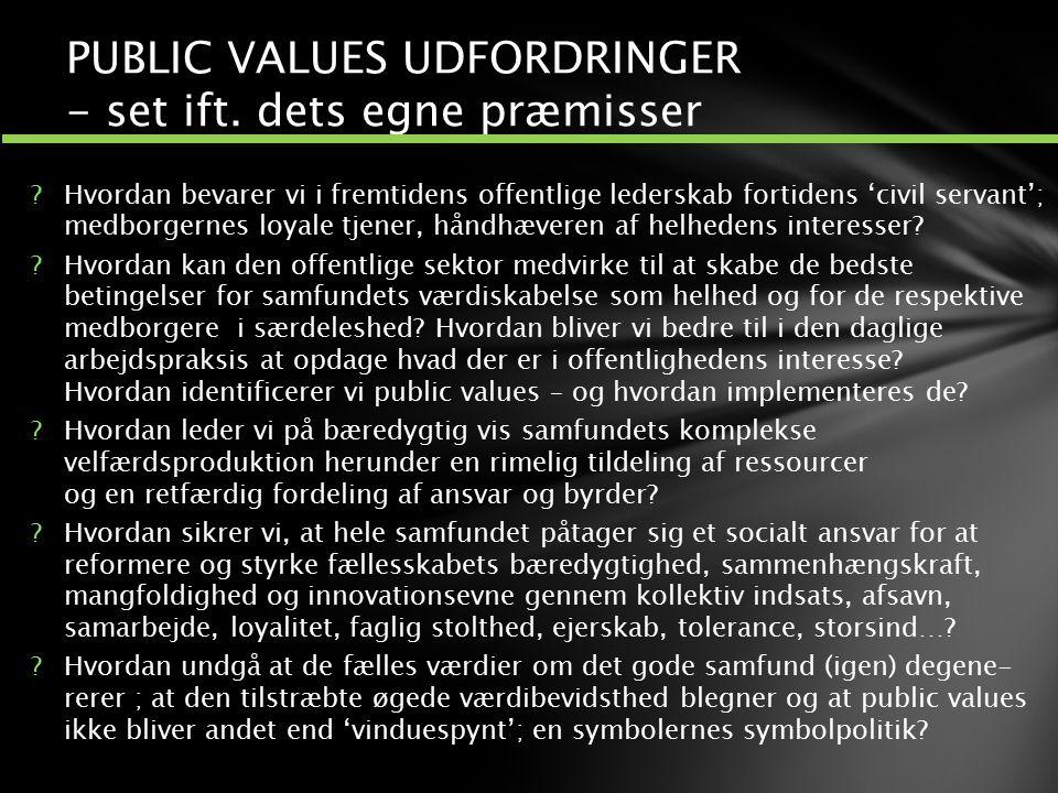 PUBLIC VALUES UDFORDRINGER - set ift. dets egne præmisser