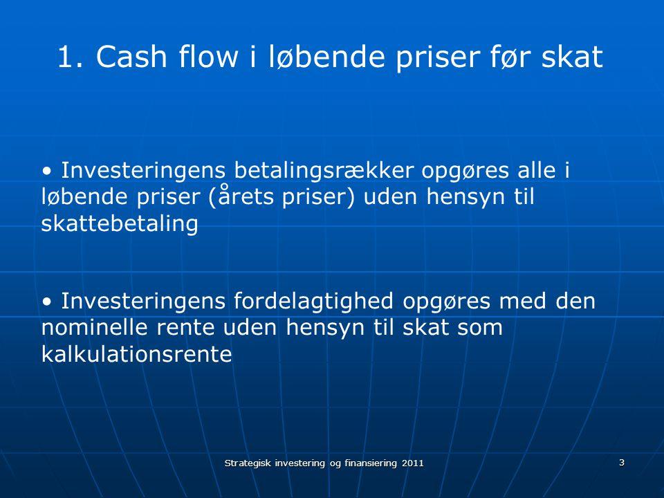 Cash flow i løbende priser før skat