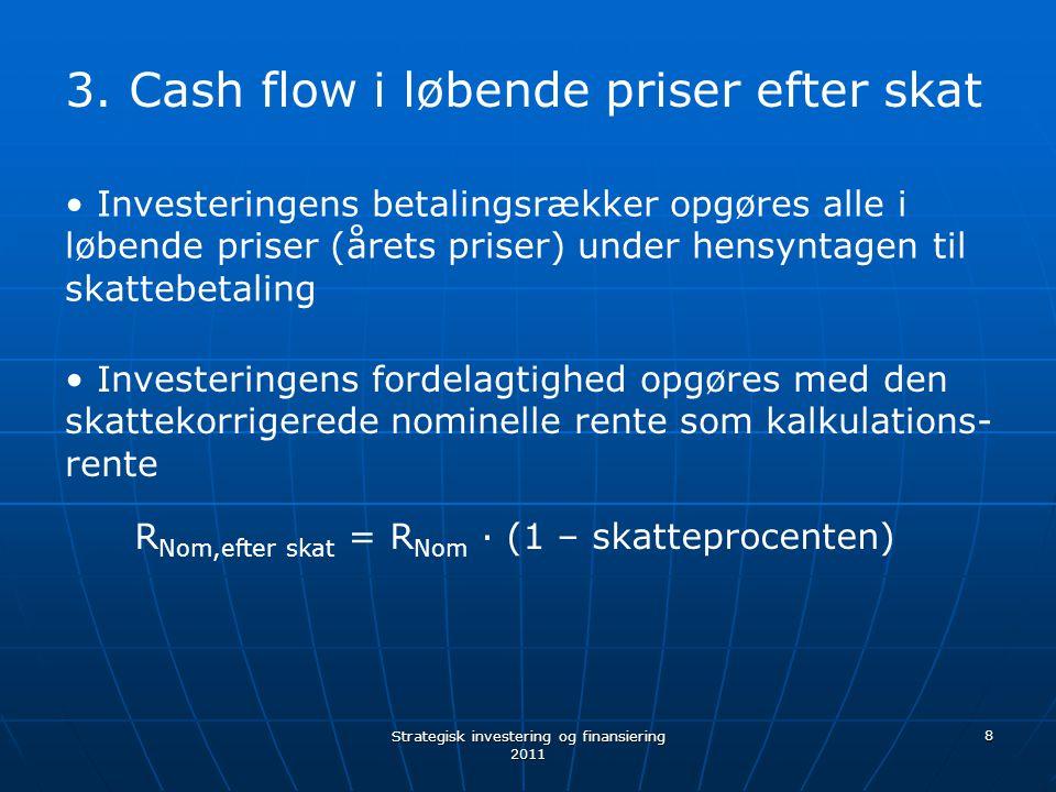 Cash flow i løbende priser efter skat