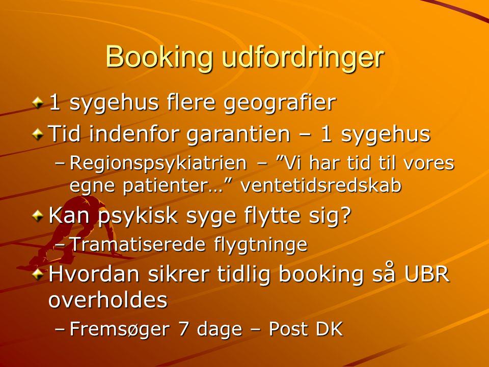 Booking udfordringer 1 sygehus flere geografier