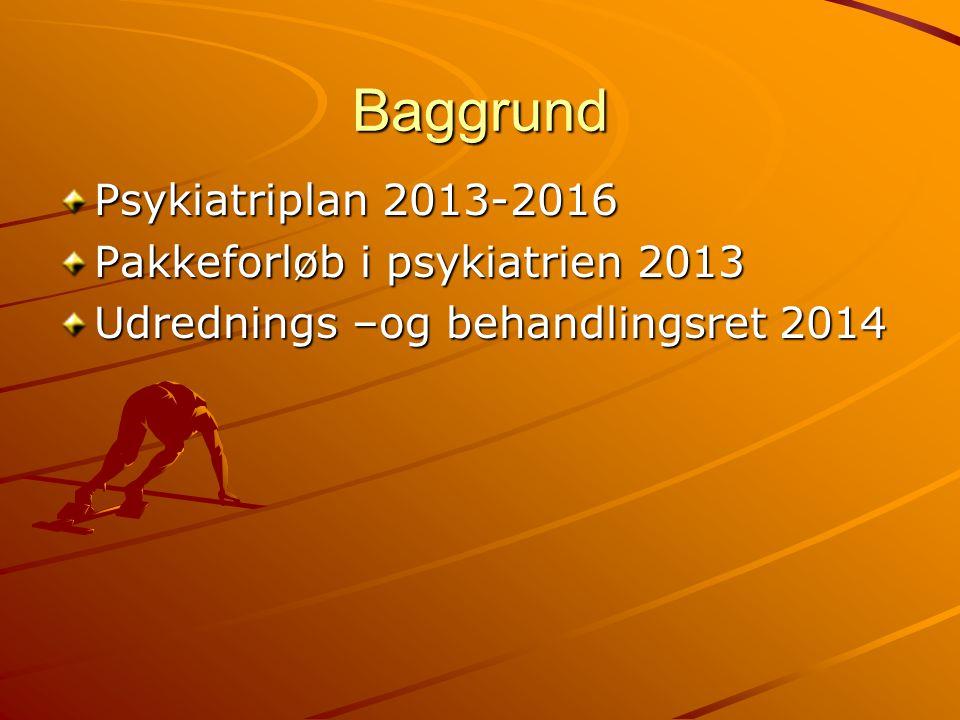 Baggrund Psykiatriplan 2013-2016 Pakkeforløb i psykiatrien 2013