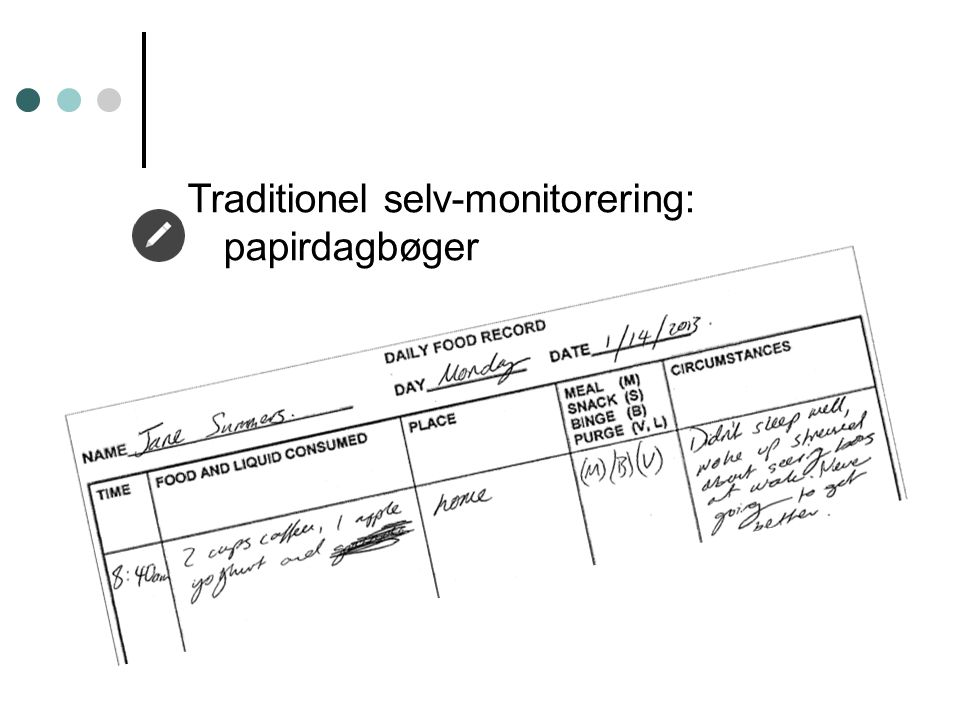 Traditionel selv-monitorering: papirdagbøger