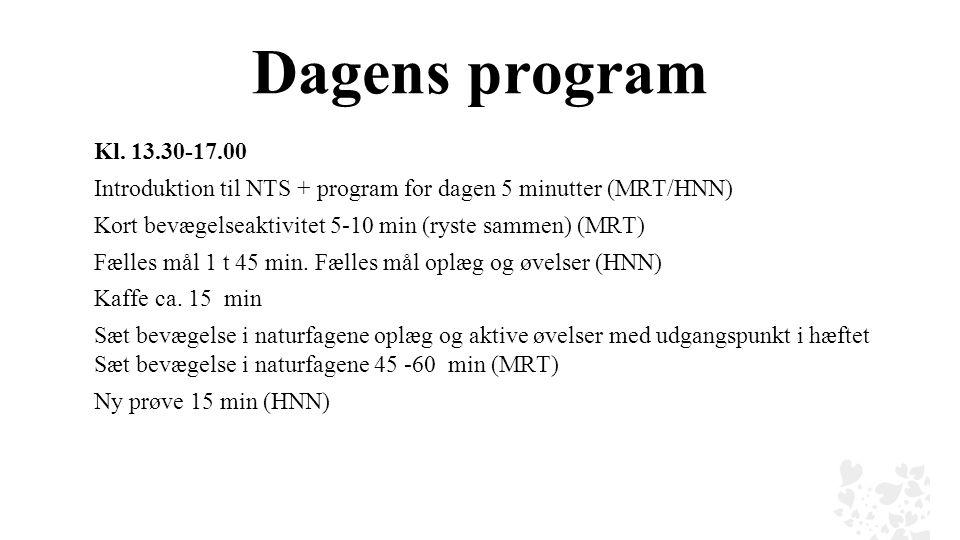 Dagens program Kl. 13.30-17.00. Introduktion til NTS + program for dagen 5 minutter (MRT/HNN) Kort bevægelseaktivitet 5-10 min (ryste sammen) (MRT)