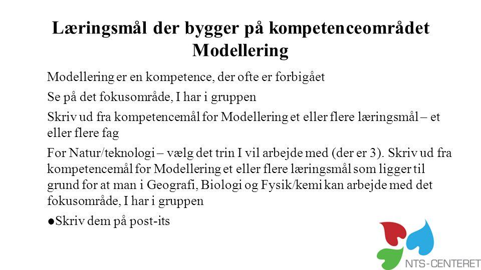 Læringsmål der bygger på kompetenceområdet Modellering
