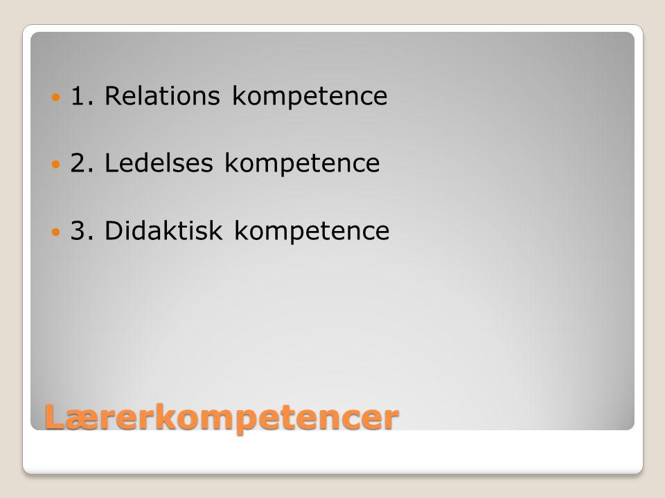 Lærerkompetencer 1. Relations kompetence 2. Ledelses kompetence