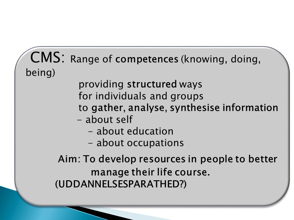 CMS: Range of competences (knowing, doing, being) providing structured ways for individuals and groups to gather, analyse, synthesise information - about self - about education - about occupations Aim: To develop resources in people to better manage their life course.