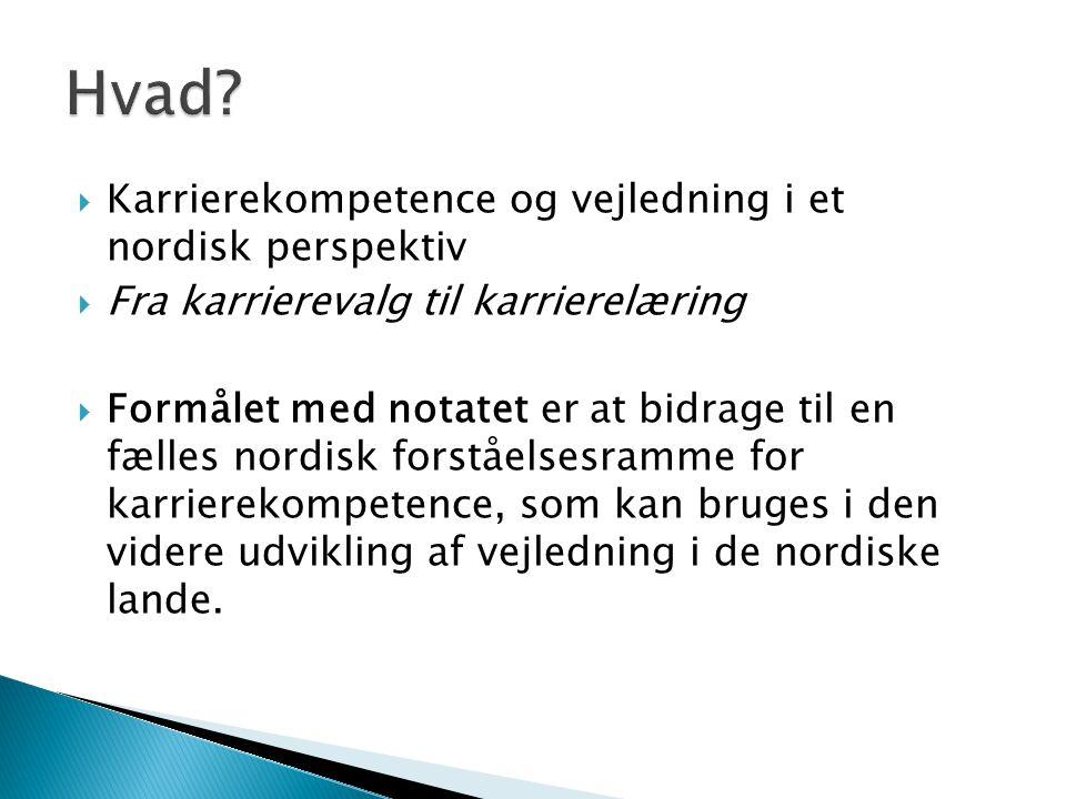 Hvad Karrierekompetence og vejledning i et nordisk perspektiv