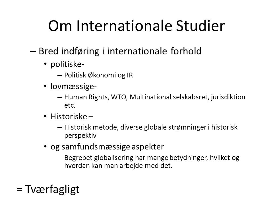 Om Internationale Studier