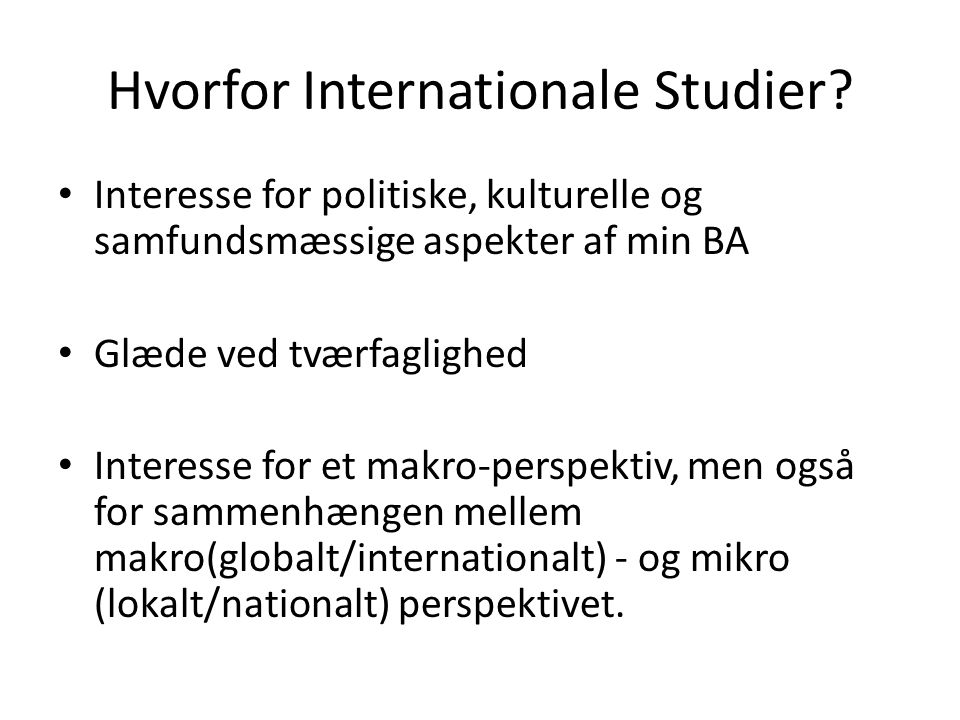 Hvorfor Internationale Studier