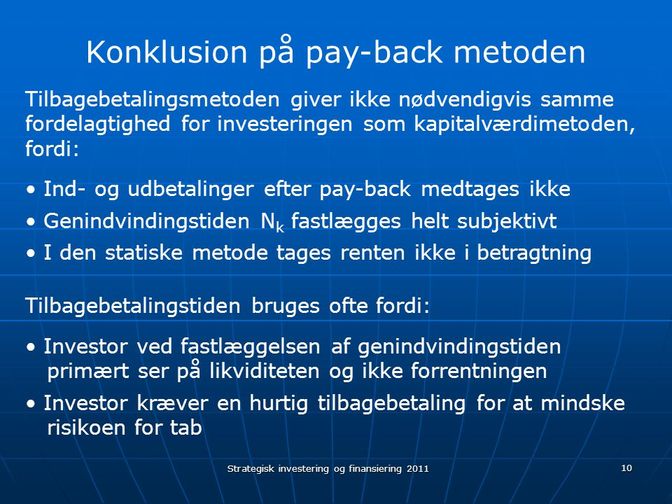 Konklusion på pay-back metoden
