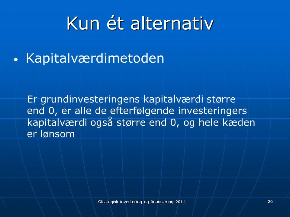 Strategisk investering og finansiering 2011