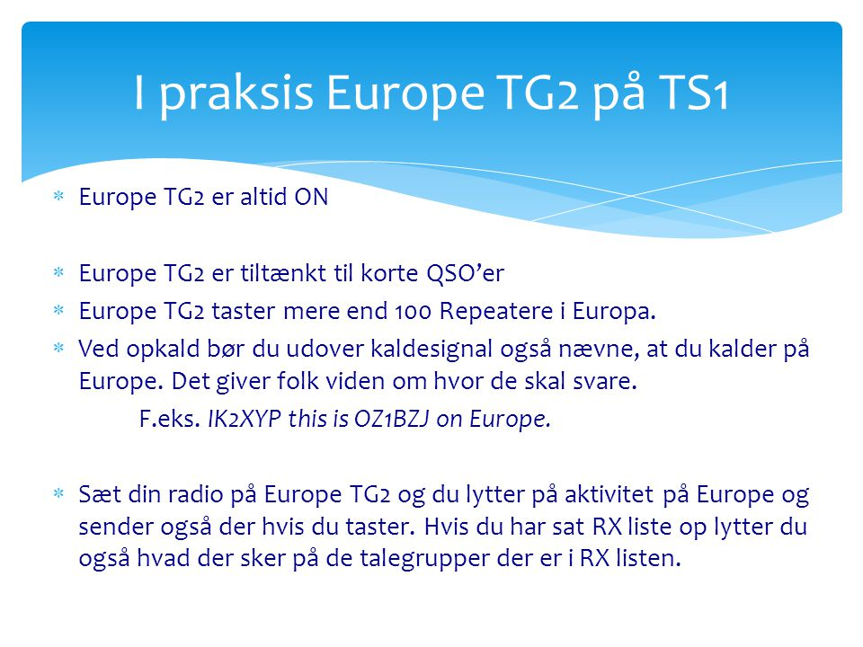 I praksis Europe TG2 på TS1