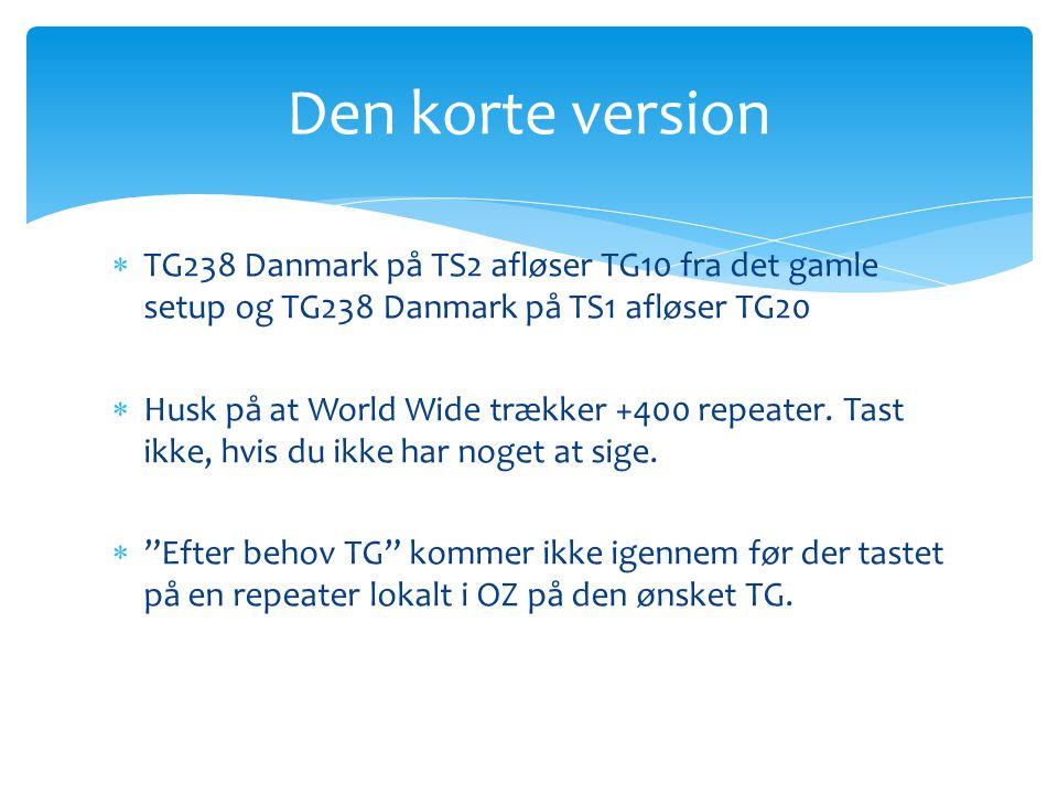 Den korte version TG238 Danmark på TS2 afløser TG10 fra det gamle setup og TG238 Danmark på TS1 afløser TG20.