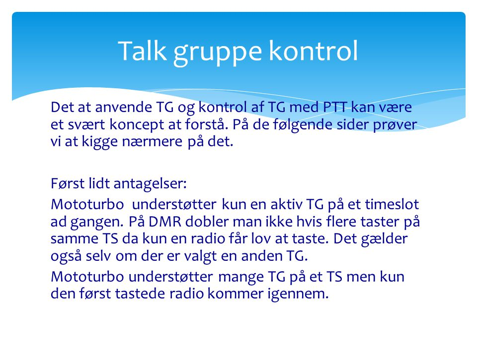 Talk gruppe kontrol