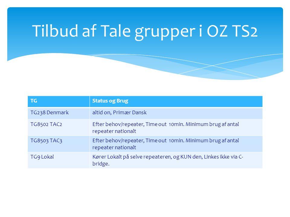 Tilbud af Tale grupper i OZ TS2