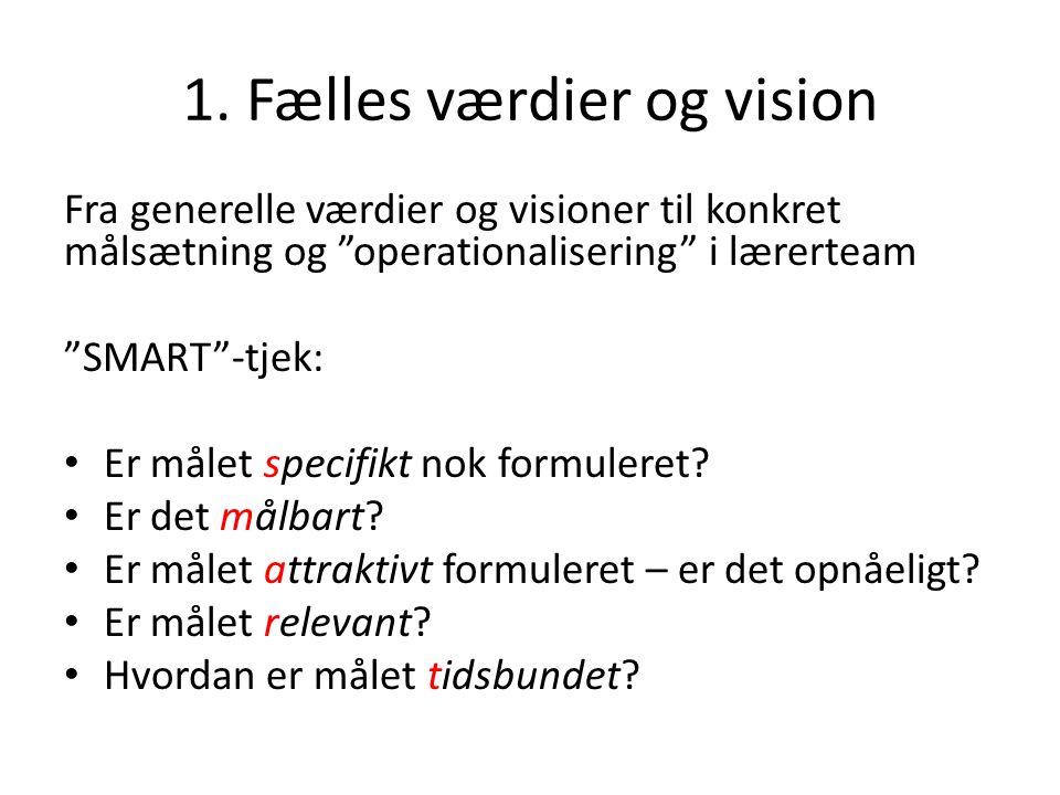 1. Fælles værdier og vision