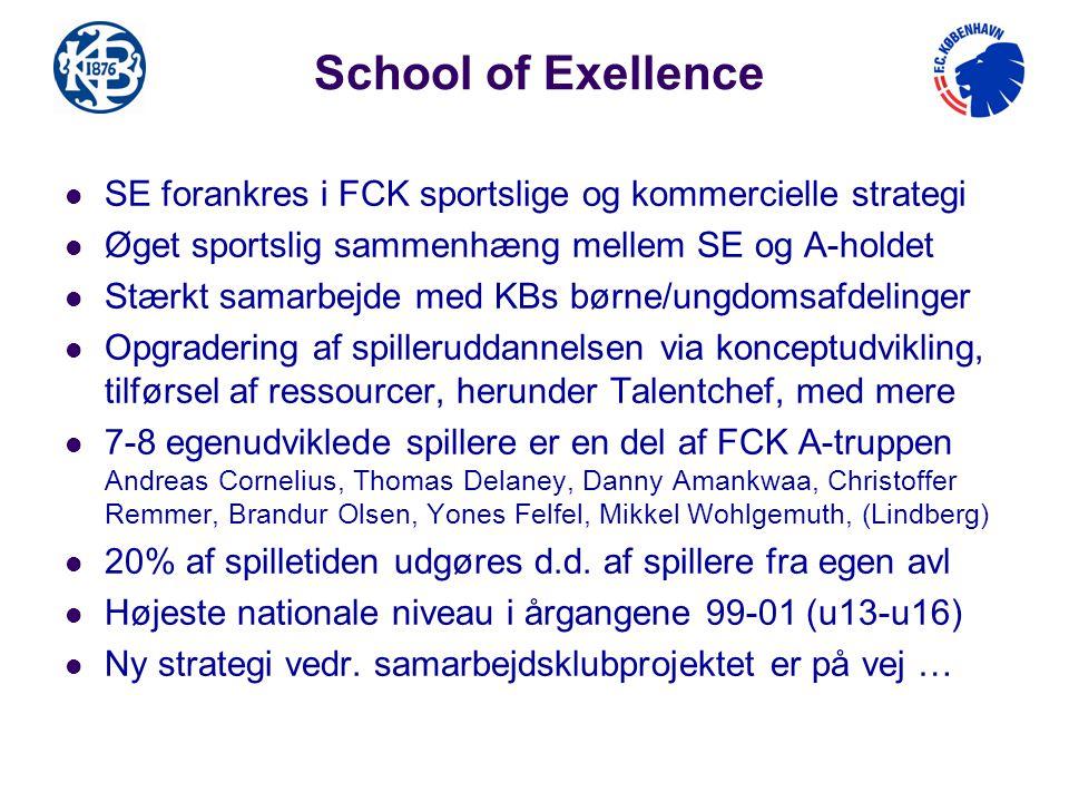 School of Exellence SE forankres i FCK sportslige og kommercielle strategi. Øget sportslig sammenhæng mellem SE og A-holdet.