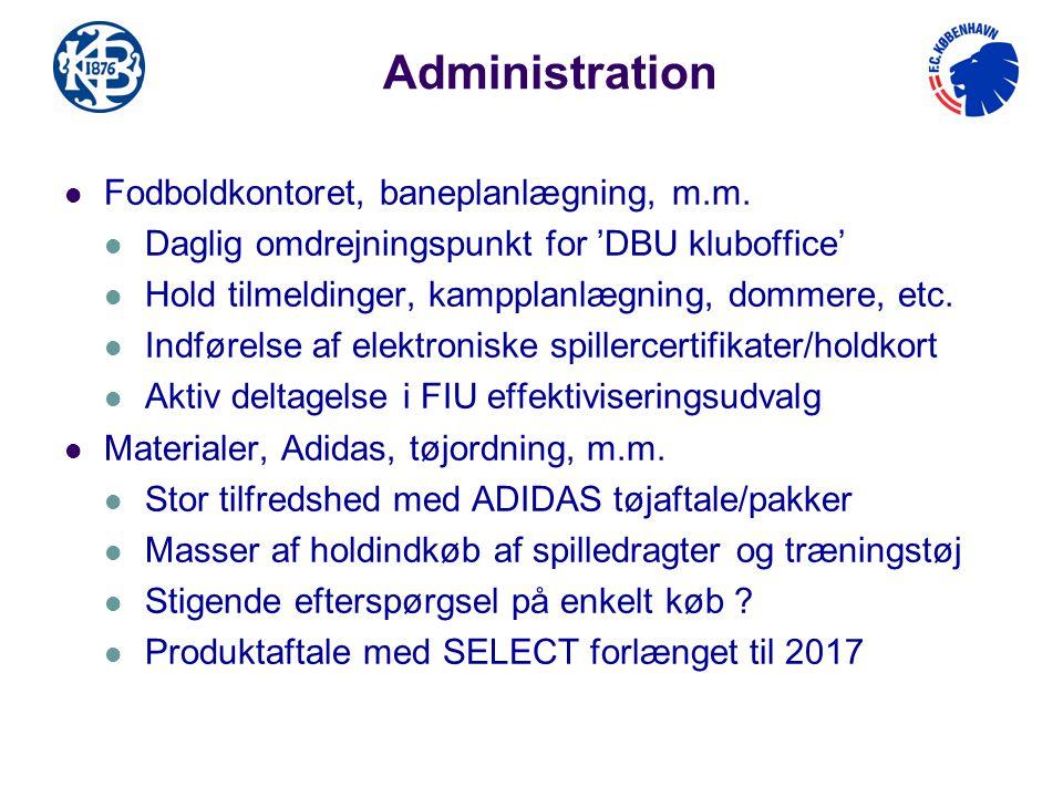 Administration Fodboldkontoret, baneplanlægning, m.m.