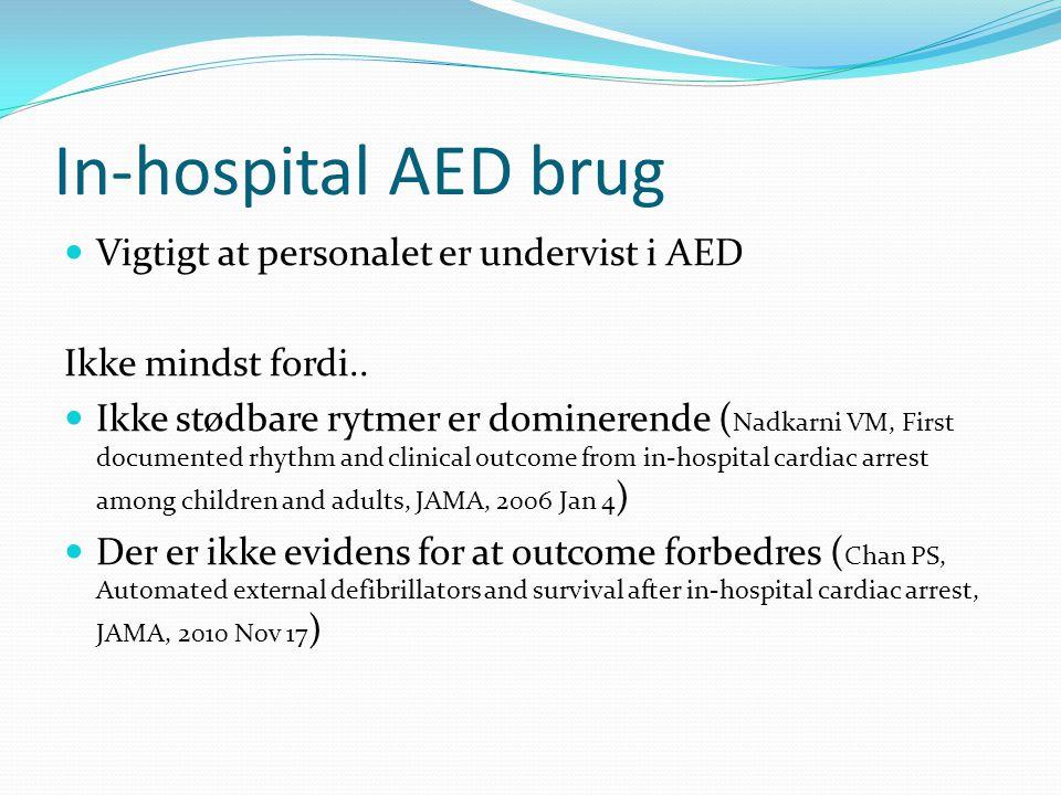 In-hospital AED brug Vigtigt at personalet er undervist i AED