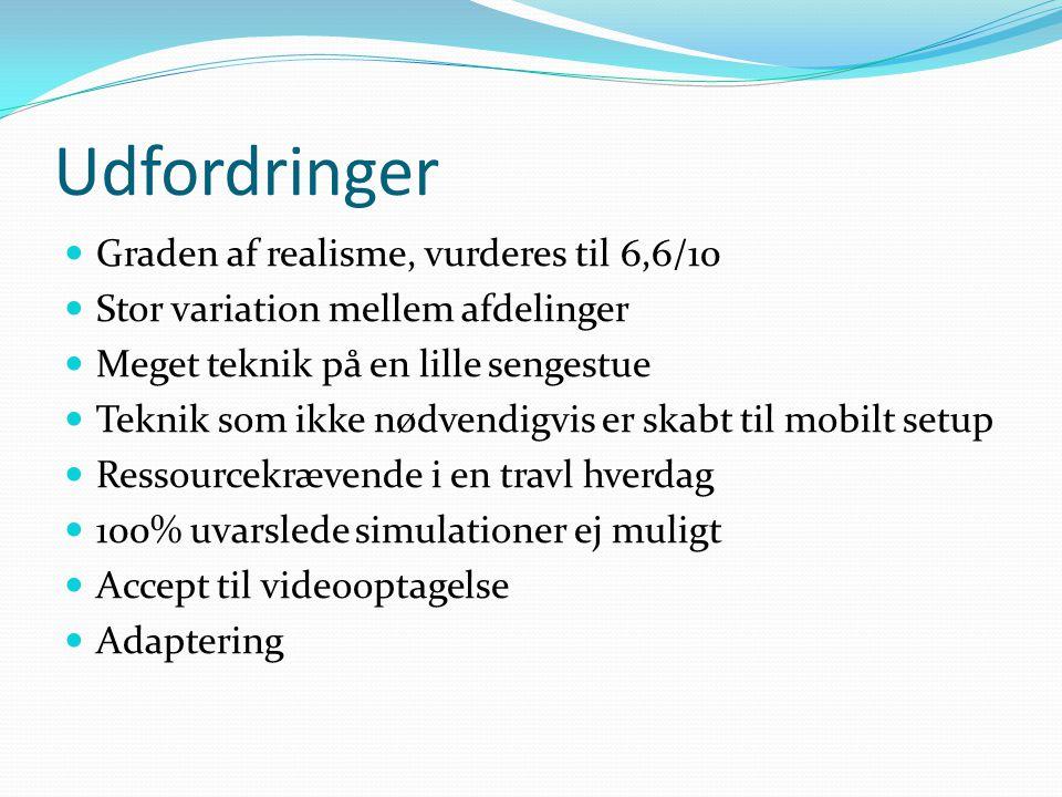 Udfordringer Graden af realisme, vurderes til 6,6/10