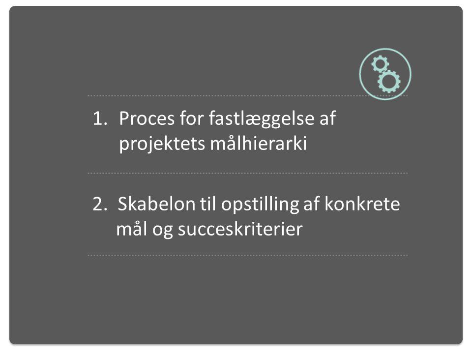 Elementer i værktøjet Proces for fastlæggelse af projektets målhierarki.