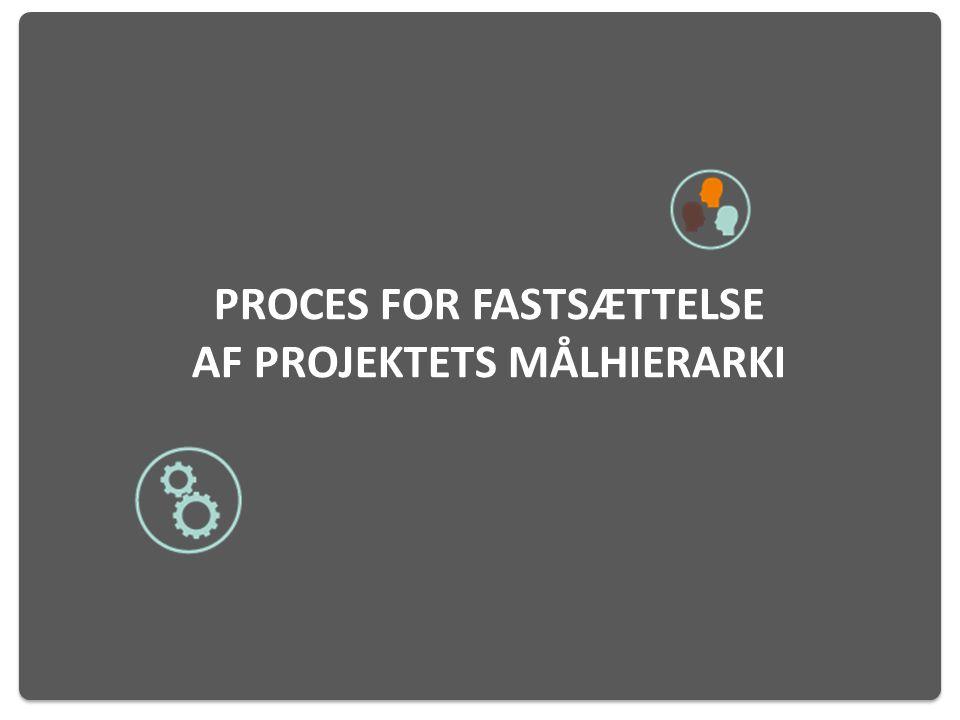 Proces for fastsættelse af projektets målhierarki