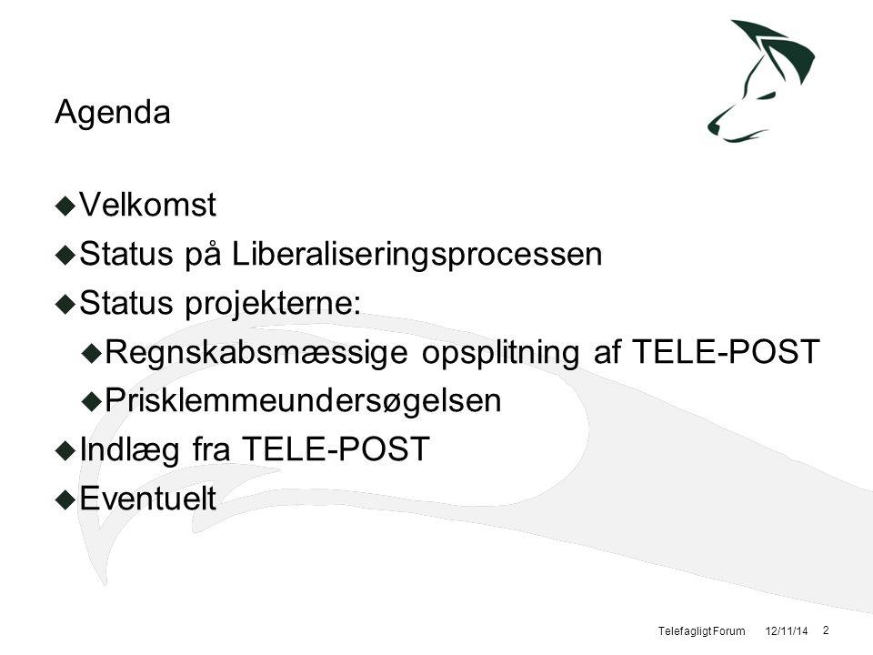 Status på Liberaliseringsprocessen Status projekterne: