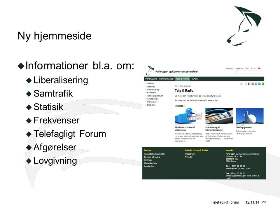 Ny hjemmeside Informationer bl.a. om: Liberalisering Samtrafik