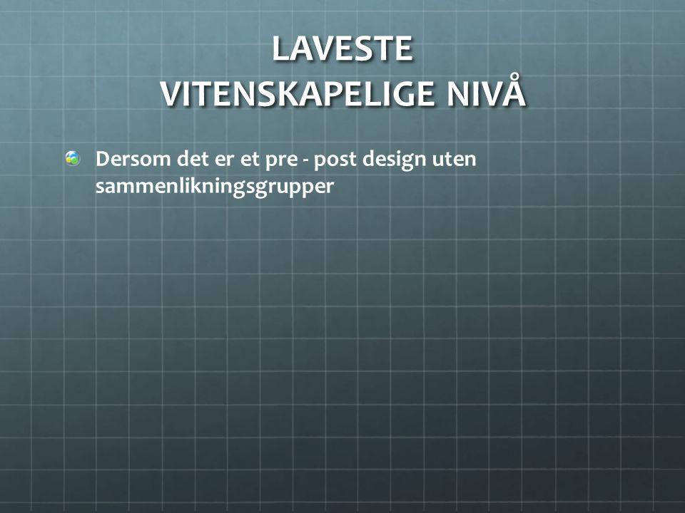LAVESTE VITENSKAPELIGE NIVÅ