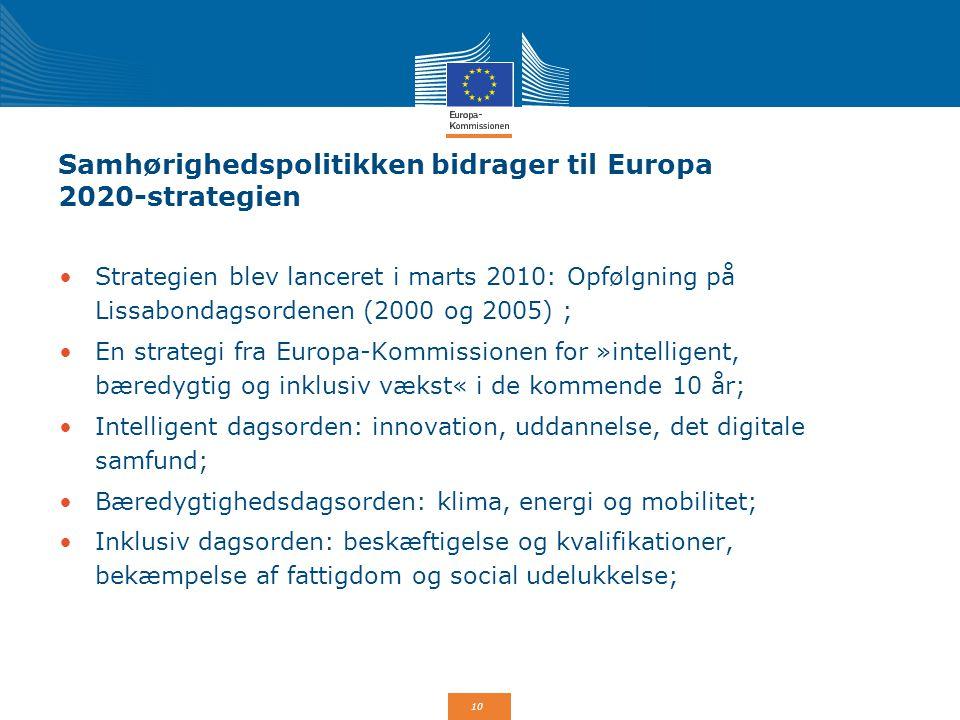 Samhørighedspolitikken bidrager til Europa 2020-strategien