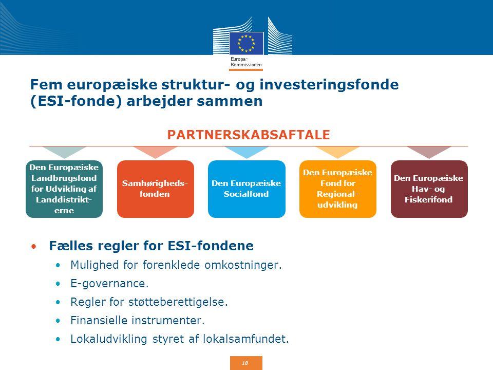 Fem europæiske struktur- og investeringsfonde (ESI-fonde) arbejder sammen