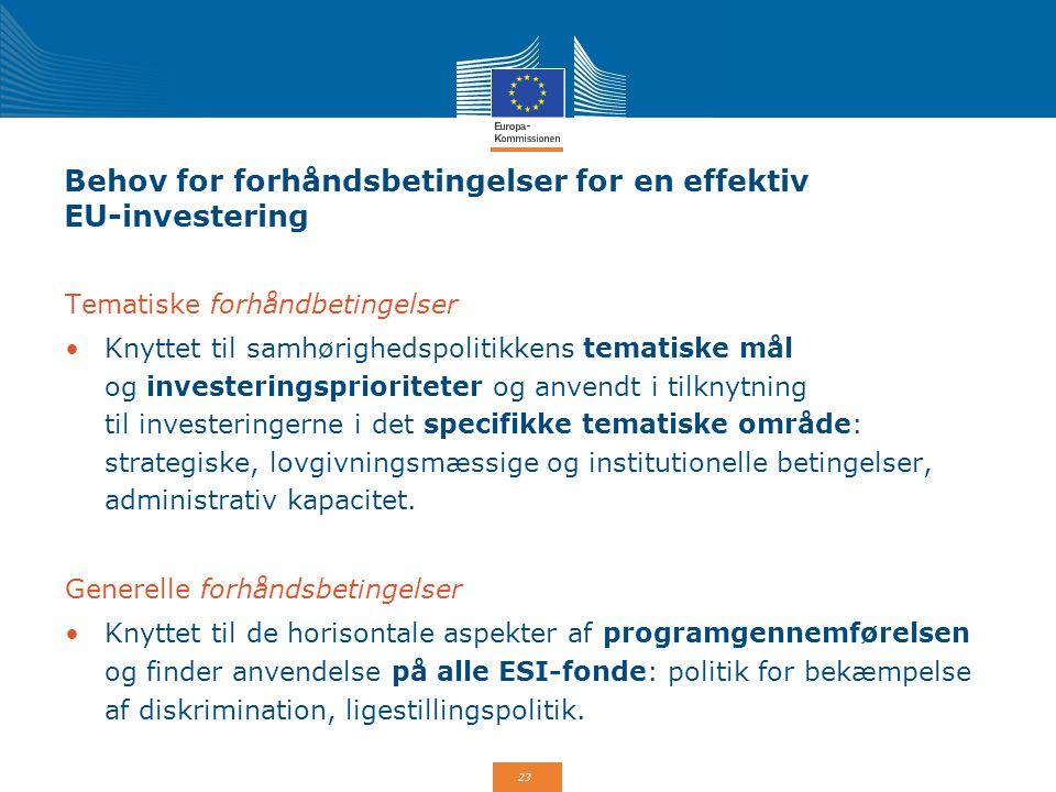 Behov for forhåndsbetingelser for en effektiv EU-investering