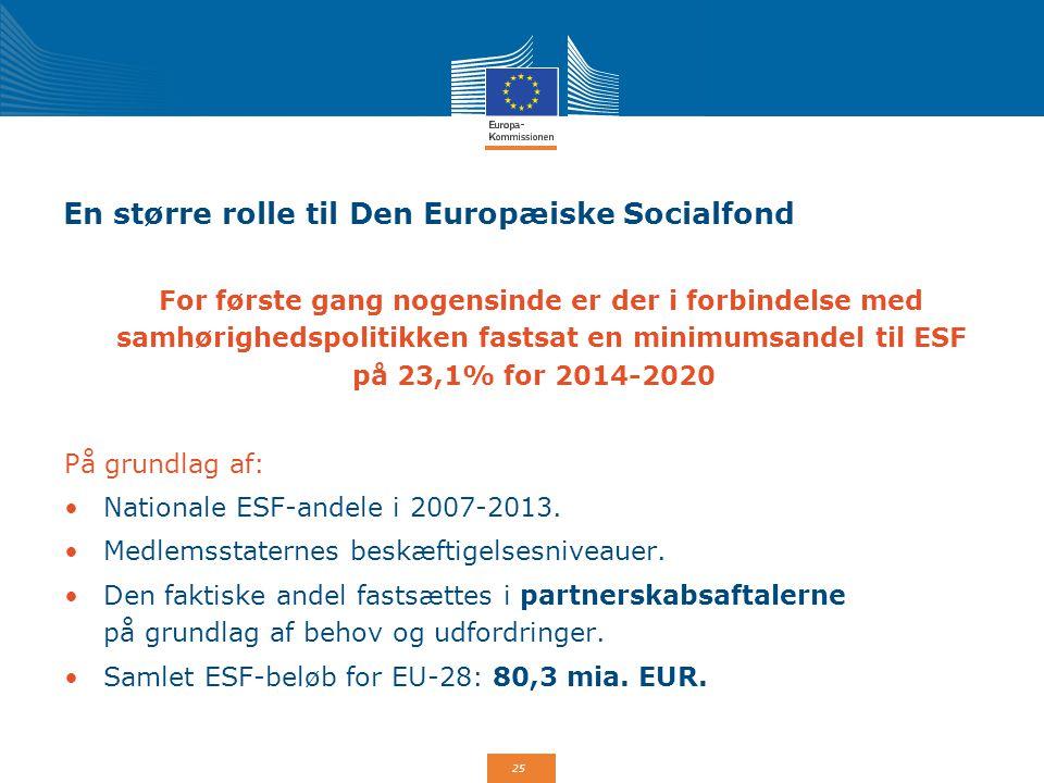 En større rolle til Den Europæiske Socialfond