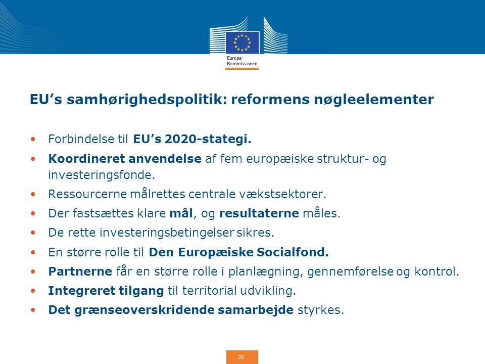 EU's samhørighedspolitik: reformens nøgleelementer