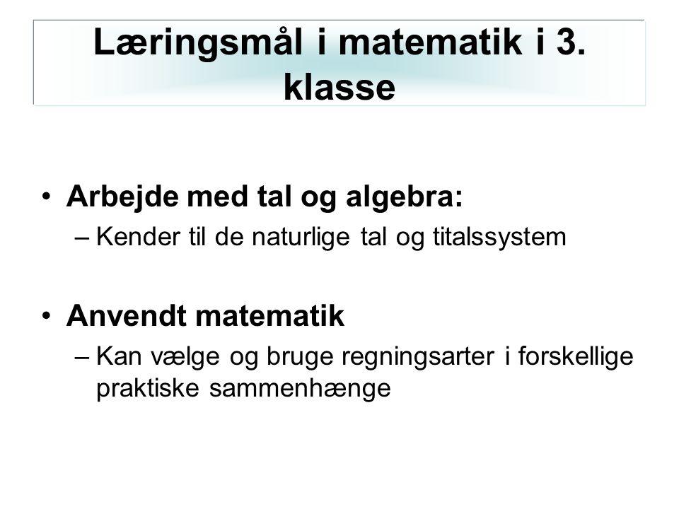 Læringsmål i matematik i 3. klasse