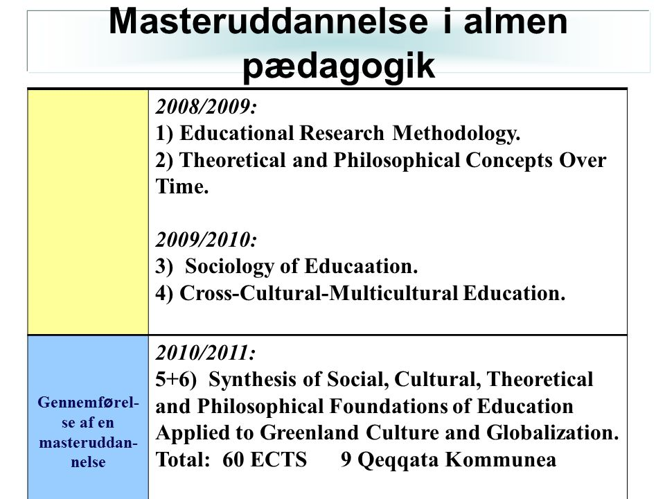 Masteruddannelse i almen pædagogik se af en masteruddan-nelse